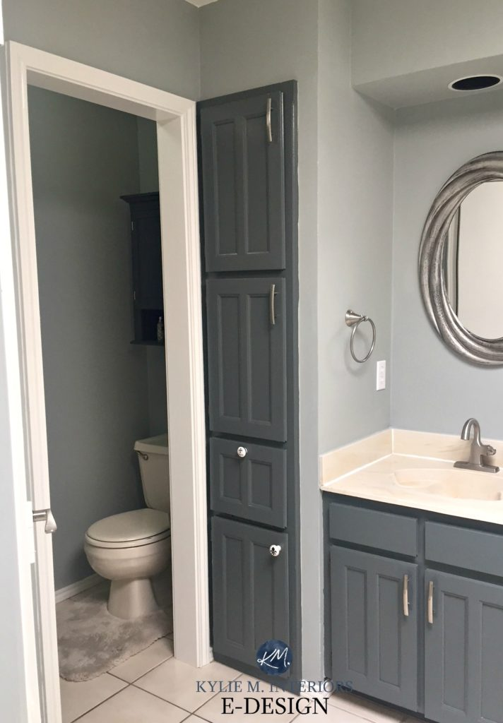 Oak bathroom vanity, almond and bone fixtures, toilet, tub, countertop, sink. Gray painted walls Sherwin Williams. Kylie M E-design, online colour expert