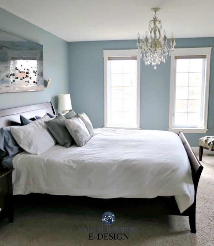 Benjamin Moore Mount Saint Anne bedroom, beach colour. Kylie M Interiors Edesign, online virtual paint color consulting ecolour