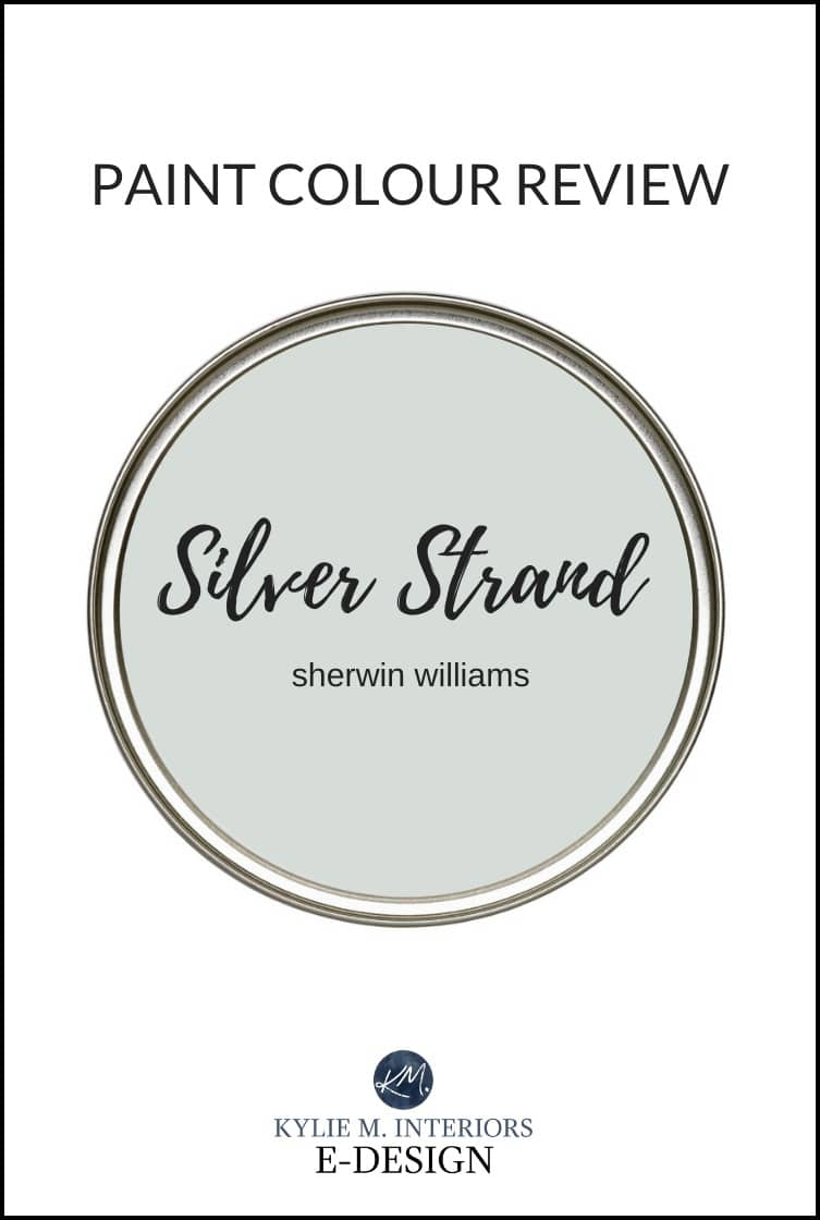 Best blue green gray blend paint colour, Sherwin William Silver Strand, a popular cool neutral. Kylie M Interiors Edesign, online paint color consulting services