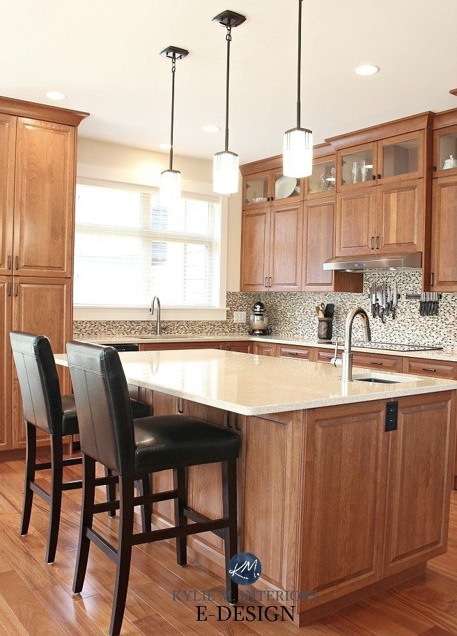 Ideas to update oak wood, maple or cherry kitchen cabinets with backsplash, hardware and more. Kylie M Interiors Edesign, online paint color advice blogger