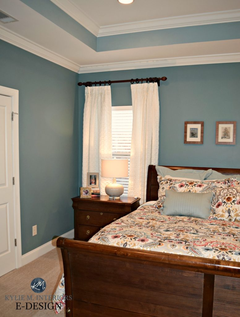 Kylie M E-design, Sherwin Williams Moody Blue and Interesting Aqua in bedroom with tray ceiling and beige carpet (2)