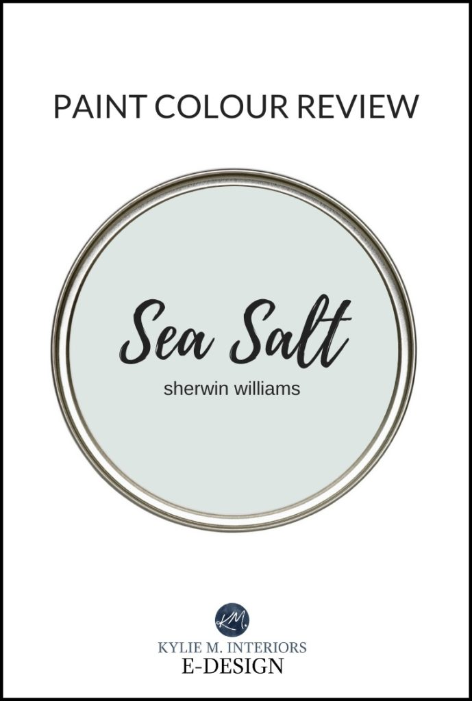 Most popular green, gray, blue paint colour blend. Sherwin Williams Sea Salt. Best paint color reviews by Kylie M Interiors Edesign, online colour consulting services