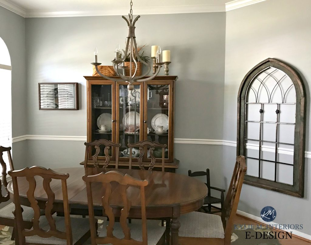 Sherwin Williams ARgos in dining room with formal, traditional wood furniture and chair rail. Kylie M E-design, online paint color consultant