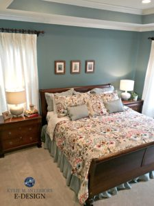 herwin Williams Moody Blue, best blue paint colour. Kylie M Edesign, online paint color consulting. Bedroom, tray ceiling, wood furniture, beige carpet