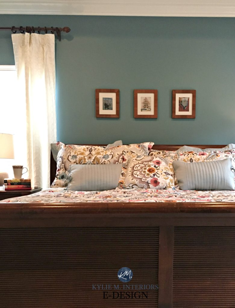 Sherwin Williams Moody Blue with cherry wood bedroom furniture, Kylie M E-design, online paint color consultant
