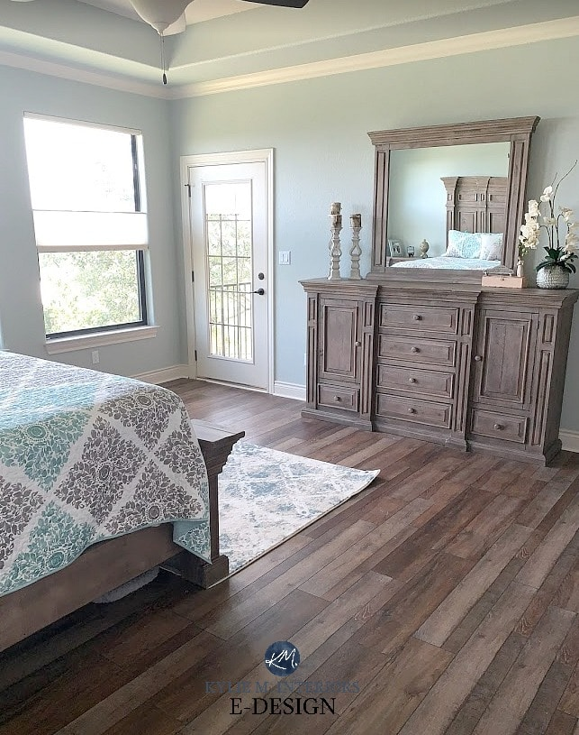 Sherwin Williams Silver Strand in a north east exposure bedroom. Wood floor and furniture. Kylie M Interiors Edesign, online paint color consultant and advice blog