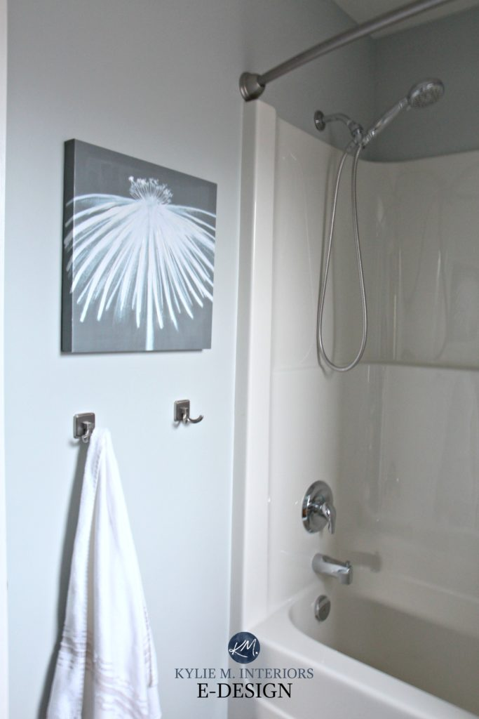 Sherwin Williams Silver Strand in bathroom off-white almost bone shower surround. Paint Colour review. Kylie M Interiors E-design