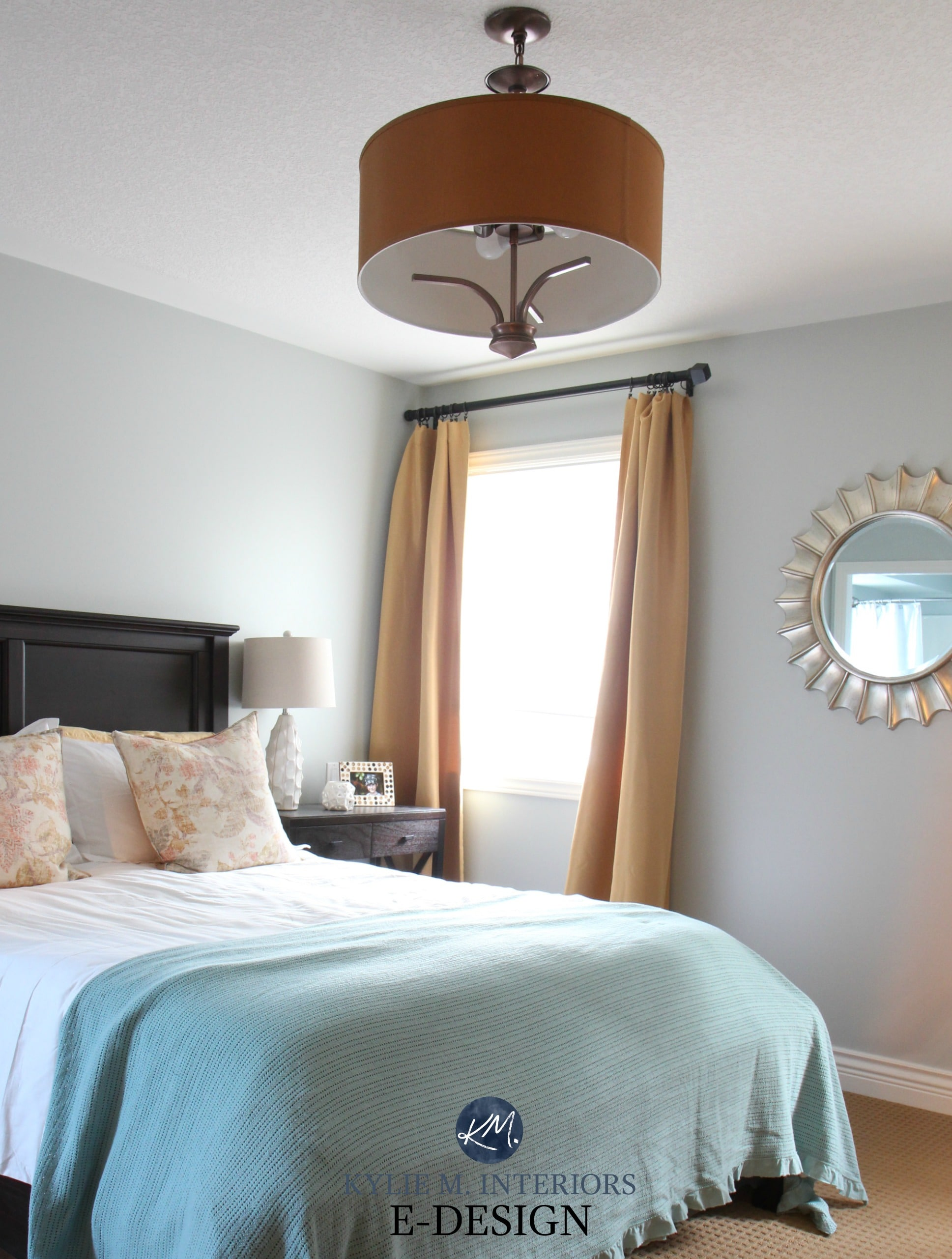 Sherwin Williams Silver Strand Paint Color Review South Facing Bedroom Blue Green Gold Accents Kylie M Interiors E Design Online Expert