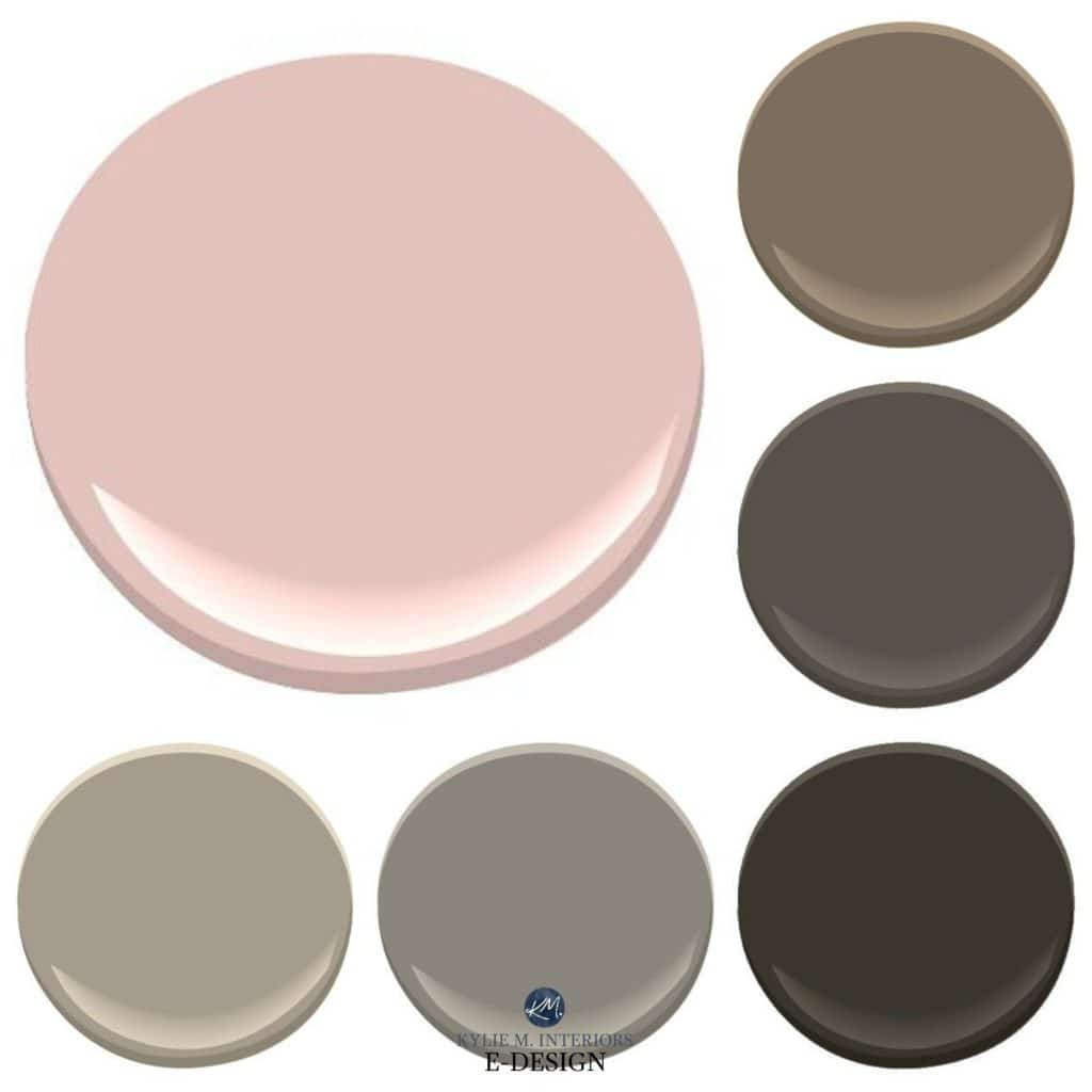 The best brown paint colours to update pink or dusty rose bathroom or kitchen countertop. KYlie M E-design
