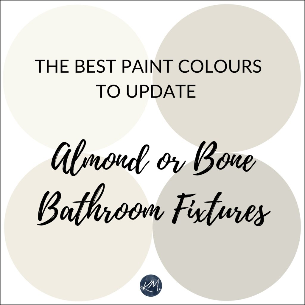 The best paint colours to update bone, almond bathroom fixtures. Kylie M Interiors Edesign, diy decorating and update ideas blog and advice