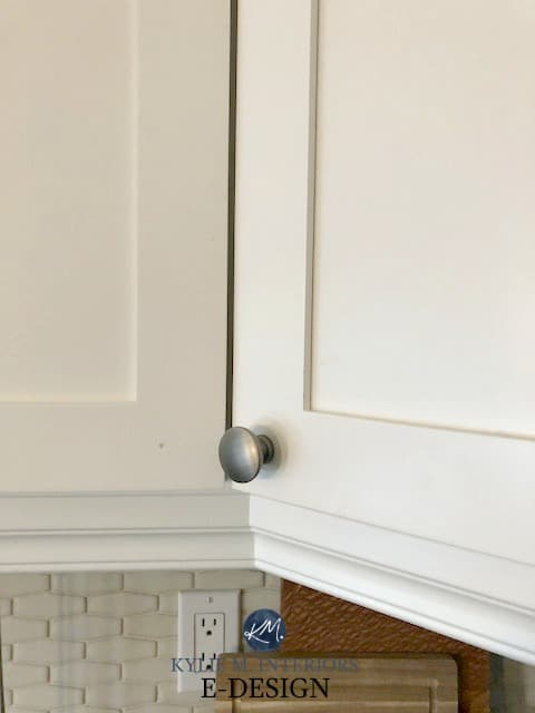 Maple wood cabinets painted Benjamin Moore Cloud White, durability. Kylie M INteriors e-design