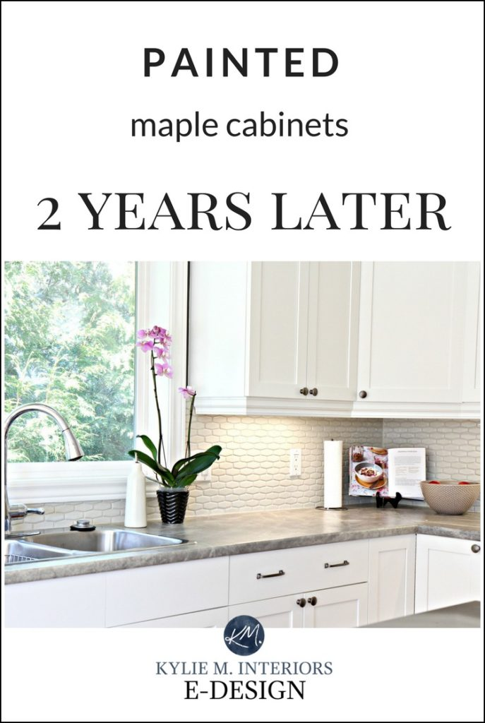 Painted maple wood cabinets. Review. Benjamin Moore Cloud White. Do painted cabinets last. Kylie M Interiors E-design and Online Paint Color expert
