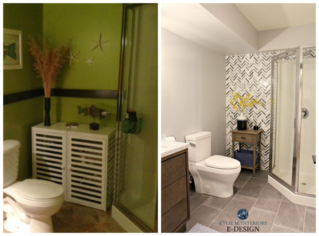 Before and after, ideas to update small bathroom with corner shower. Gray and herringbone marble tile, vanity, paint color Kylie M Interiors E-design, online paint color consulting