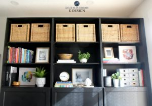 How to decorate a bookcase, bookshelf or built in. Black painted built in with home decor, books and frames. Kylie M Interiors Edesign, diy decorating and design blog