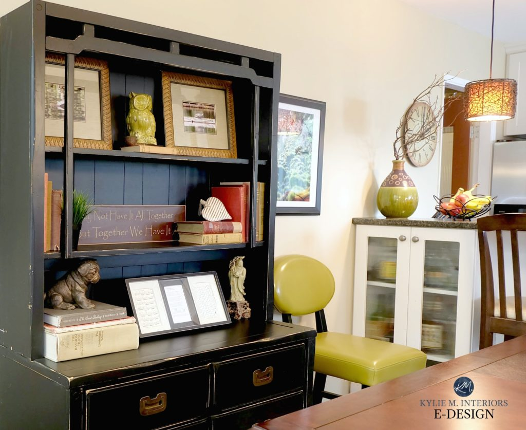 Ideas to update a room on a budget. Kylie M Interiors Edesign, black painted buffet and hutch with home decor