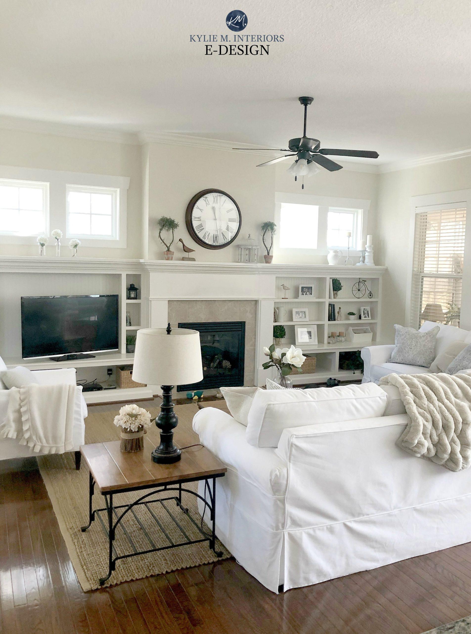 Ballet White best warm cream neutral paint colour. Living room, cottage coastal style, builtins. Kylie M Interiors Edesign, online paint colour advice blog