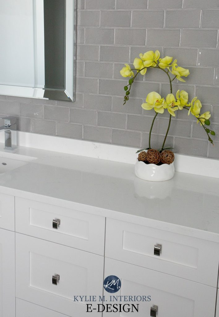 Bathroom vanity cabinet High Reflective White, white countertop, subway tile accent feature wall. Kylie M Interiors Edesign, online paint color consultant