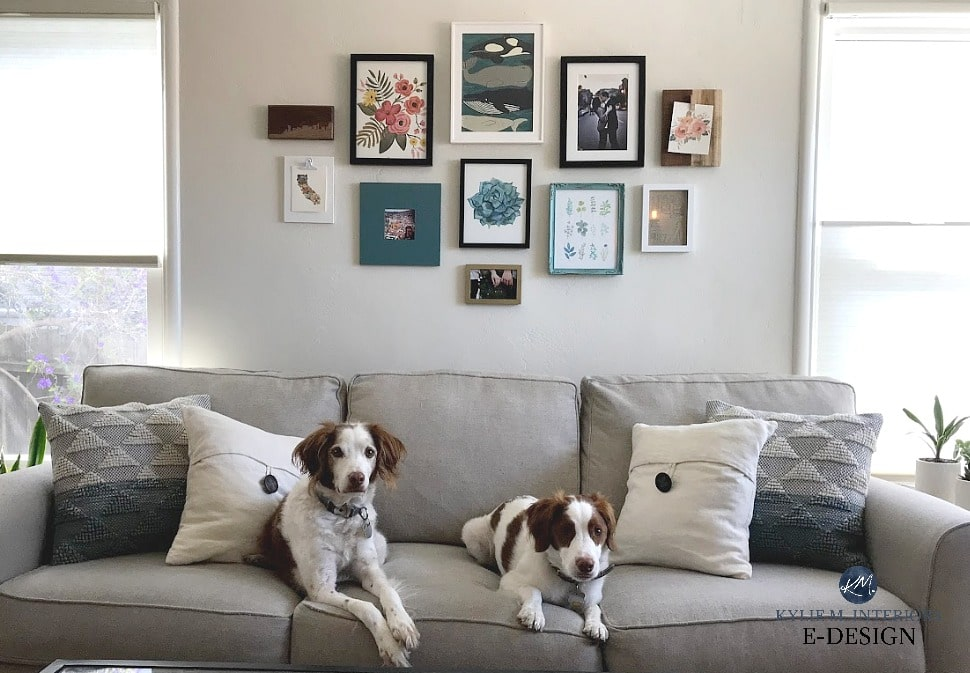 Benjamin Moore Ballet White in living room with white trim and greige sofa. Kylie M Interiors Edesign, online paint color consulting