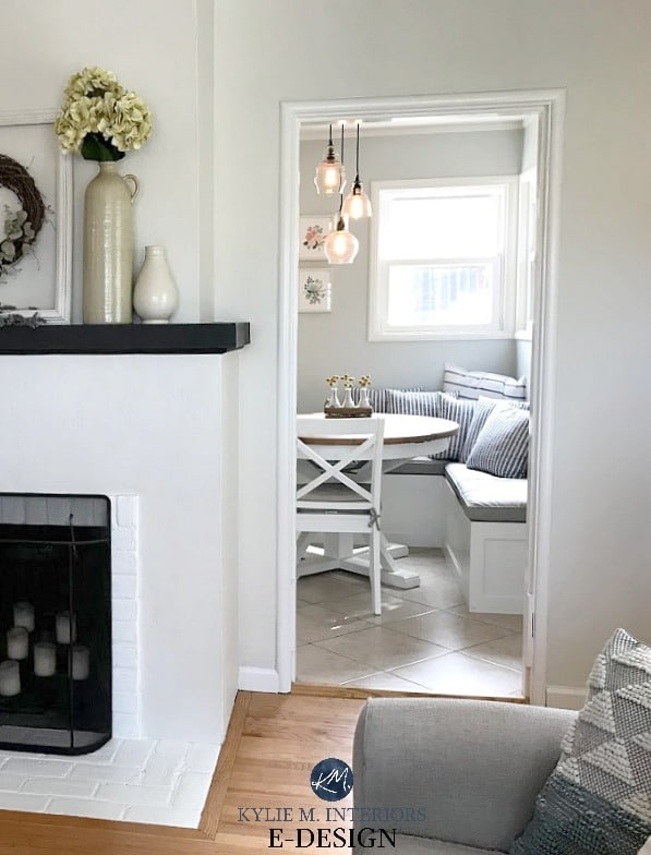 Benjamin Moore Ballet White, stucco and brick fireplace with oak or fir wood flooring. Gray Cashmere kitchen. Kylie M INteriors Edesign, online paint color advice blog and consulting