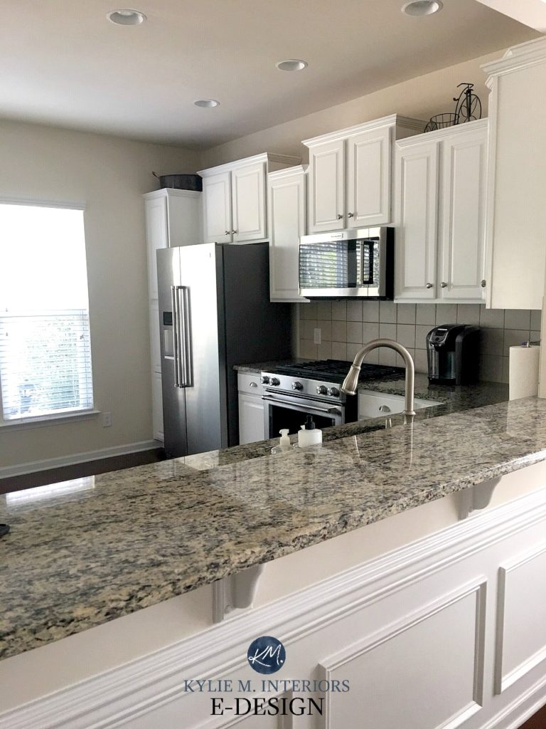 Benjamin Moore Oxford White Painted Oak Cabinets With Speckled Granite Countertop And Stainless