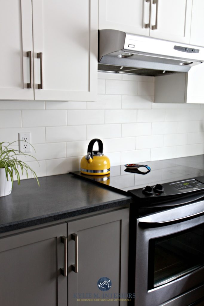 Kitchen with Chelsea Gray, subway tile, black laminate countertop, stainless steel, Gray Owl paint on the walls (3)