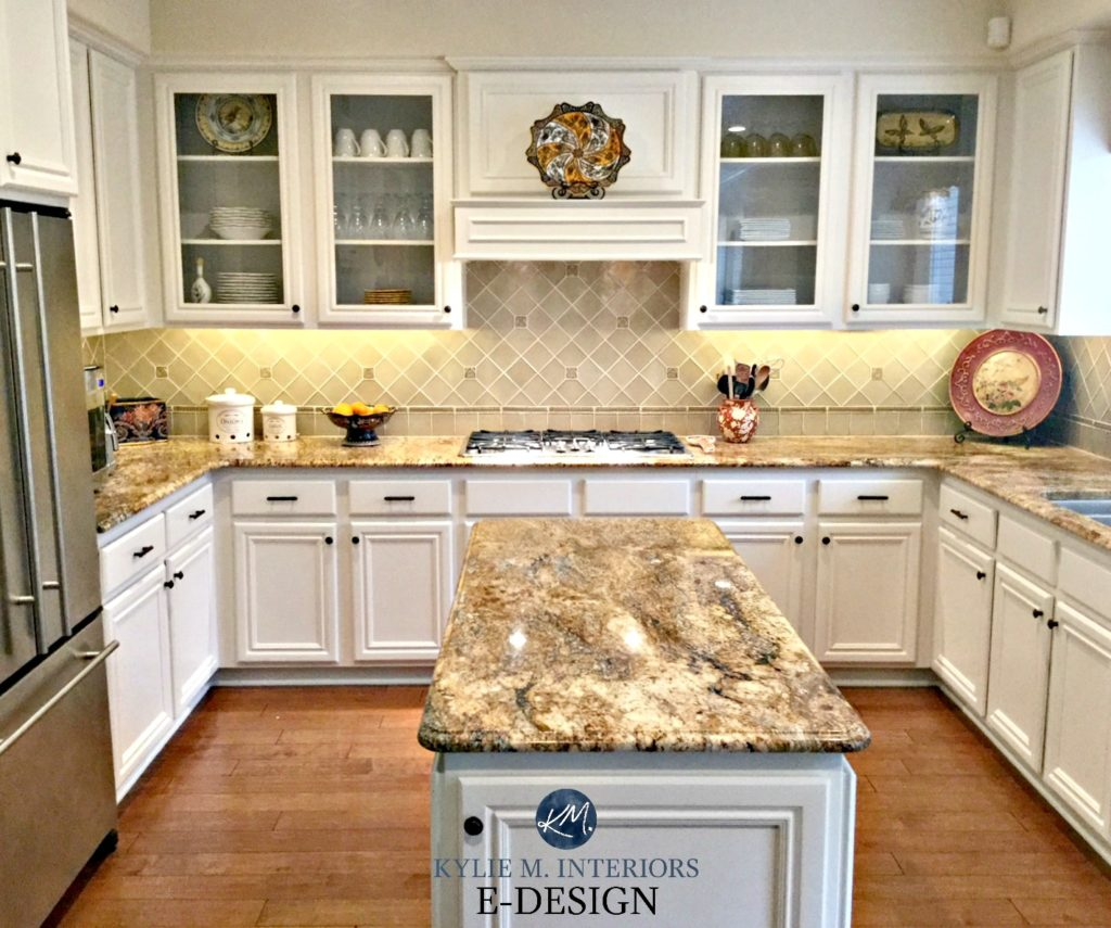 Kitchen with maple cabinets and wood floor painted Benjamin Moore White Down. Kylie M Interiors E-design, online paint color consulting. granite countertops