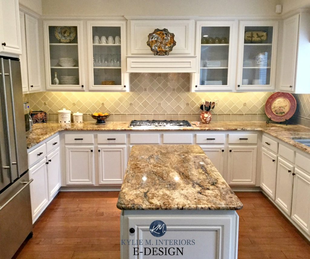 Maple wood kitchen cabinets painted Benjamin Moore White Down. Kylie M E-design, online virtual paint consulting. Granite countertop, backsplash, glass cabinets, maple wood flooring