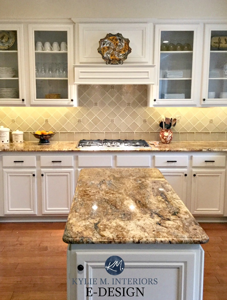 Maple Wood Kitchen Cabinets Painted Benjamin Moore White Down. Kylie M  E Design, Online Virtual Paint Consulting. Granite Countertop, Backsplash,  Glass ...