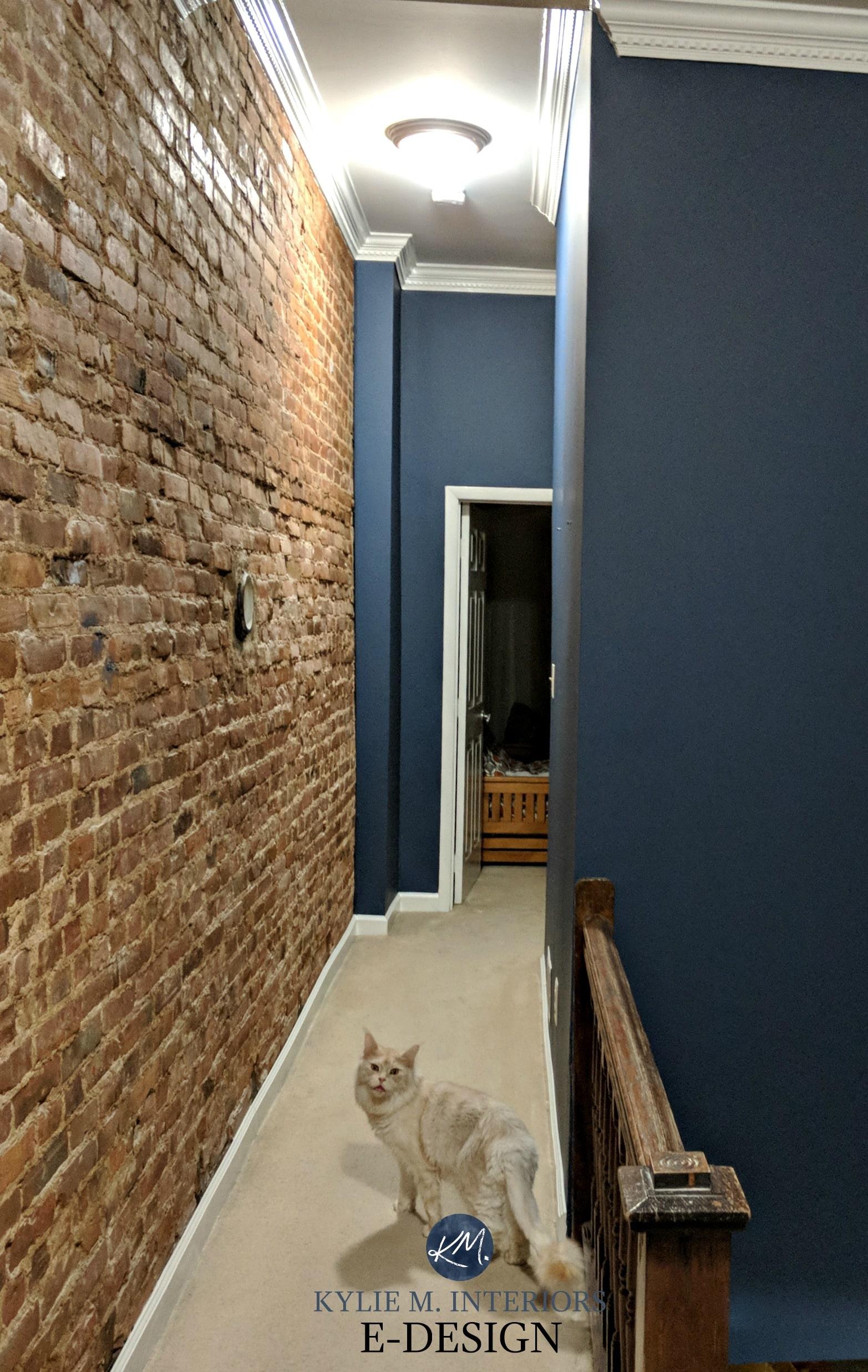 Virtual Design Living Room: Benjamin Moore Newburyport Blue, Navy Blue With Red Brick