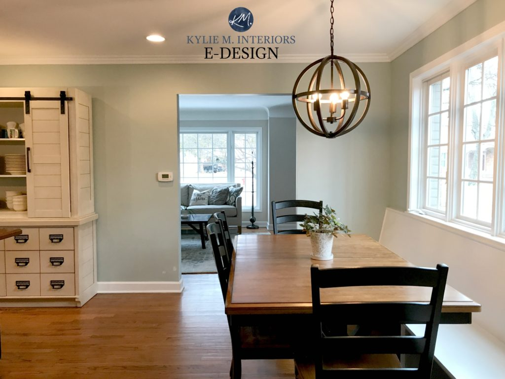 Benjamin Moore Silver Marlin, eating nook in farmhouse kitchen, blue green paint colour. Kylie M INteriors E-design online paint blog expert