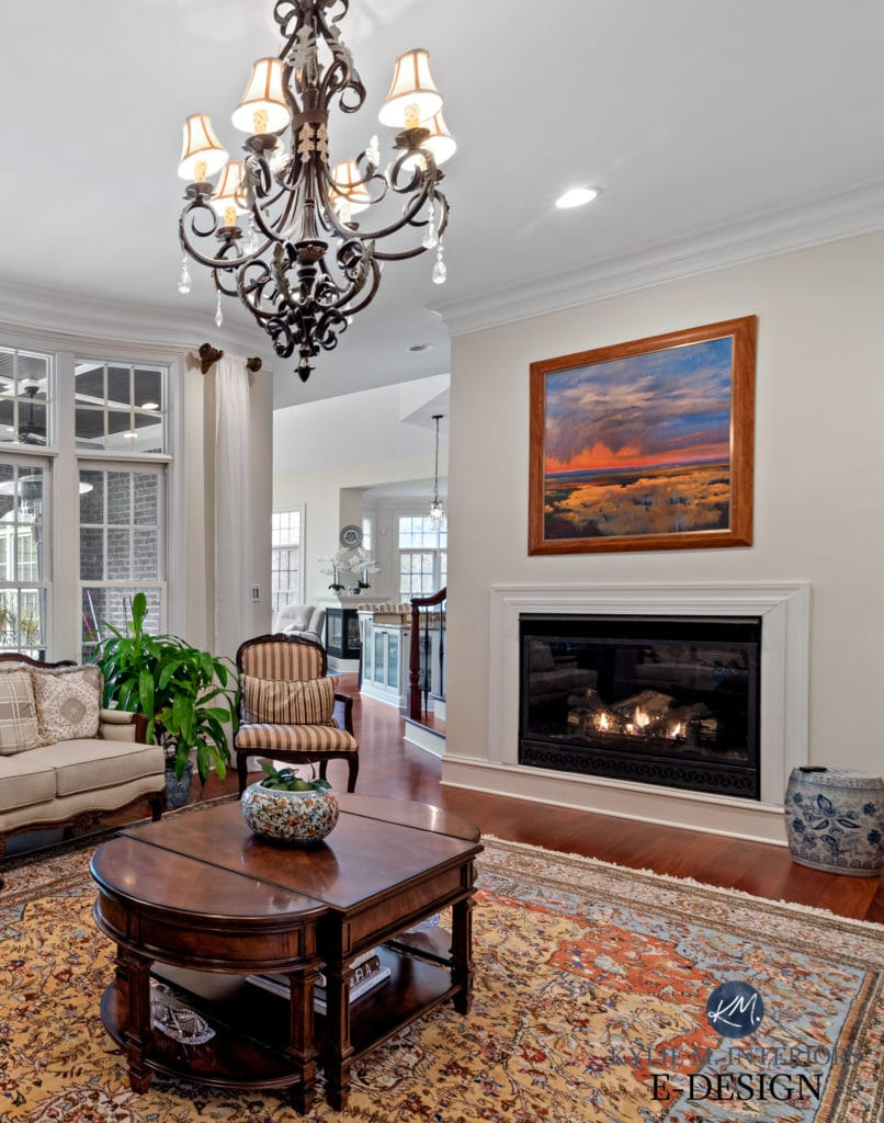 Formal traditional style living or family room. Sherwin Williams Creamy, best warm off white paint color. Kylie M Interiors Edesign, online paint colour and virtual decor advice (1)