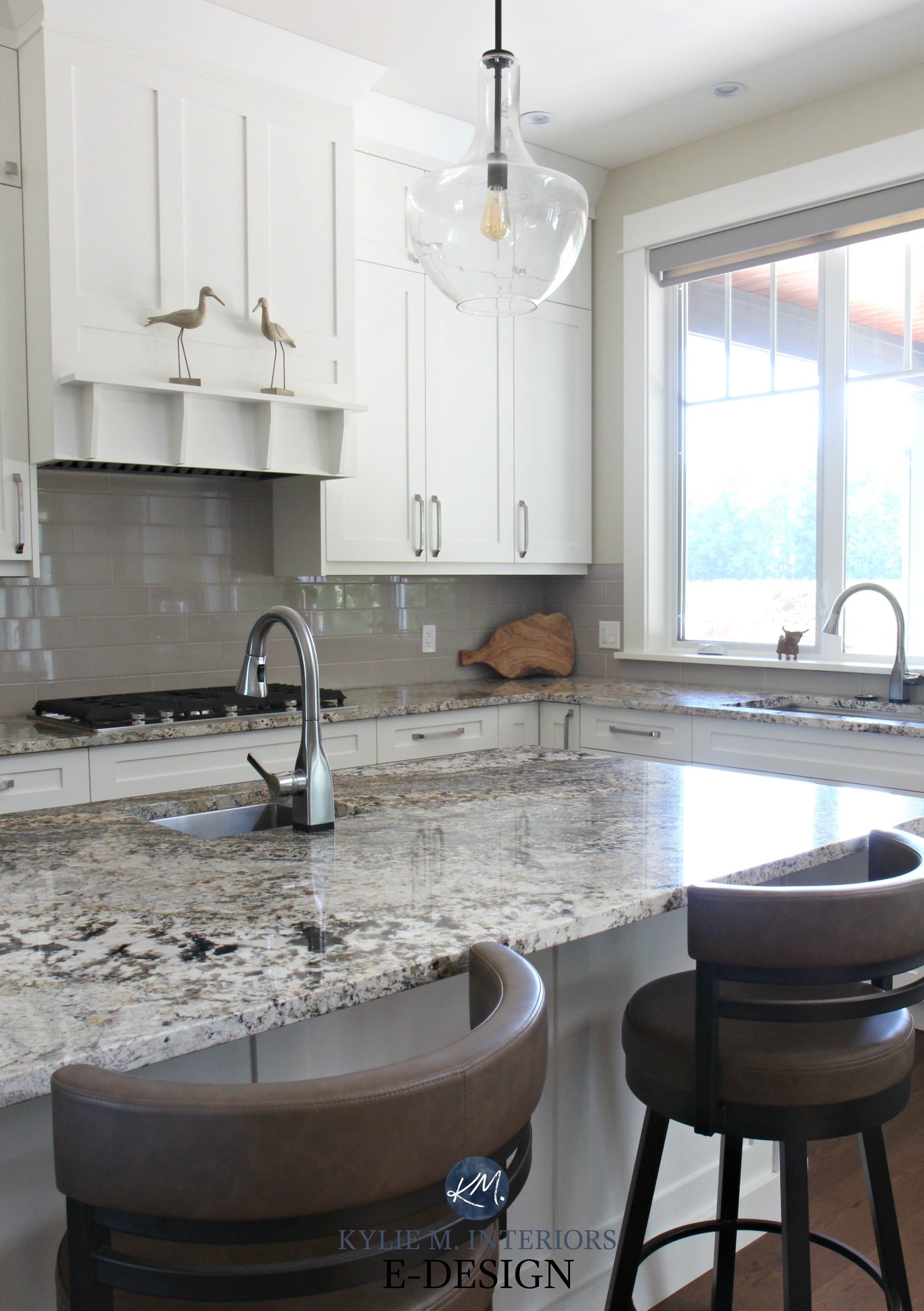 Kylie M Interiors Edesign Cloud White Kitchen Cabinets Granite