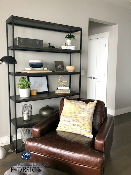 Sherwin Williams Collonade Gray, bookcase decorated. North facing, leather accent chair. Kylie m Interiors E-design, online paint colour consultant, virtual design