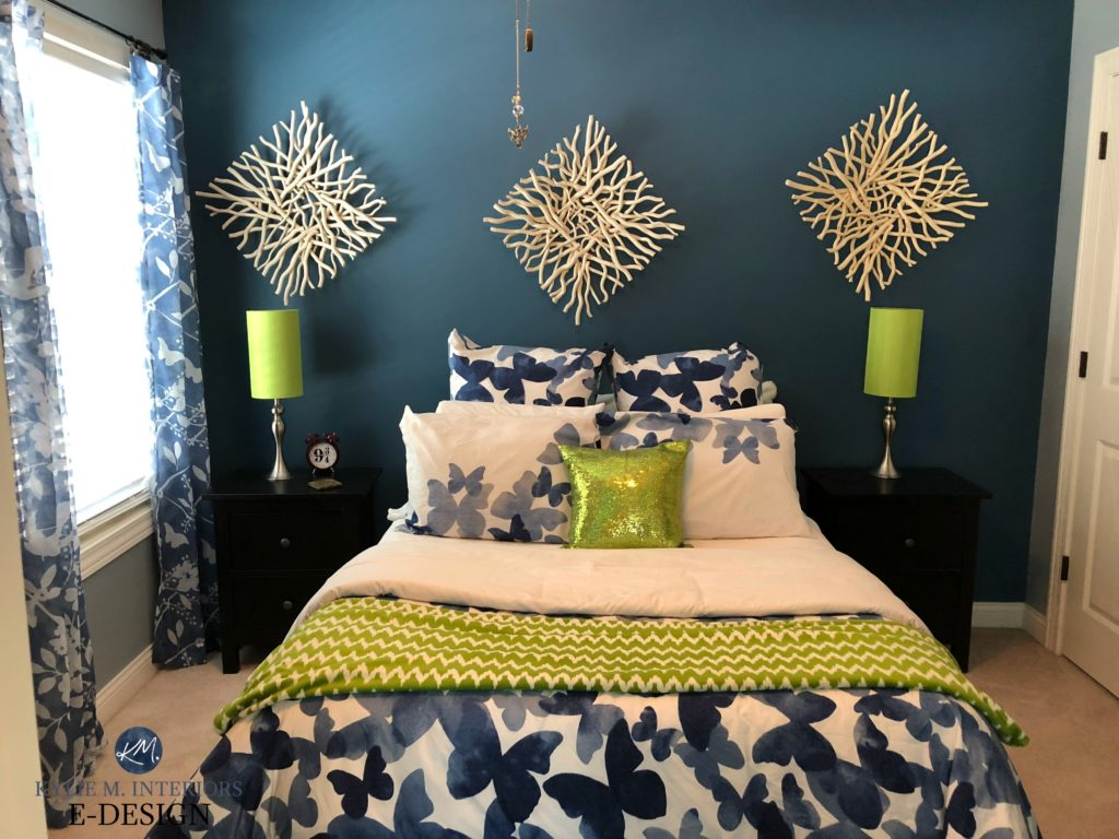 Sherwin Williams Lucerne, dark blue paint colour, lime green accents. Guest bedroom. Kylie M E-design