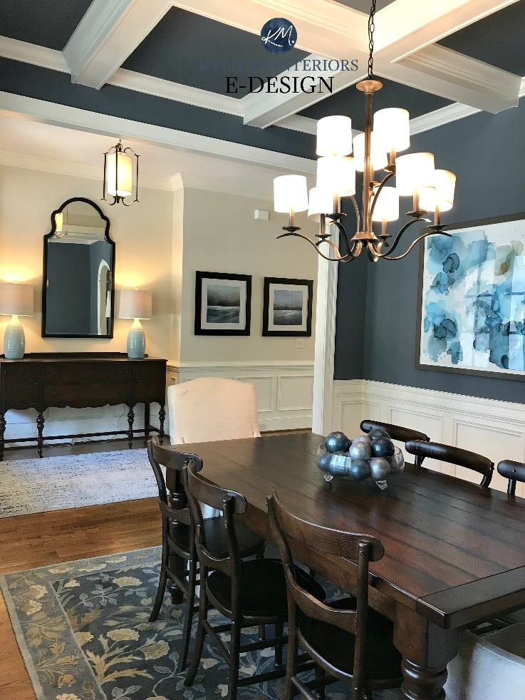 Sherwin Williams Wall Street and Wool Skein, coffered ceiling, moldings dining room,entryway. Kylie M INteriors E-design, online paint colour consulting. Client photo
