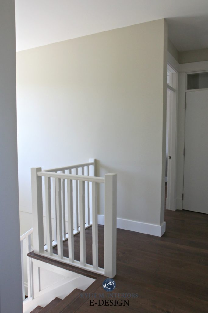 Sherwin Williams Wool Skein, south facing hallway, stairwell, white railing, dark wood flooring, Kylie M INteriors Edesign, online virtual paint consultant