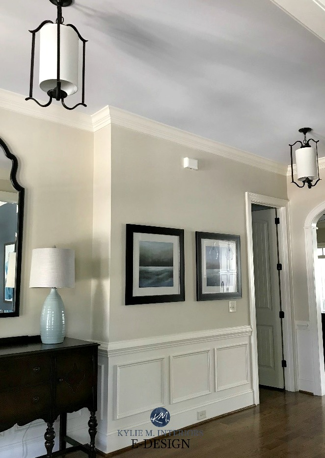 Sherwin Williams Woolskein, Westhighland White, RH Seafoam ceiling. Kylie M INteriors E-design. Client photo before