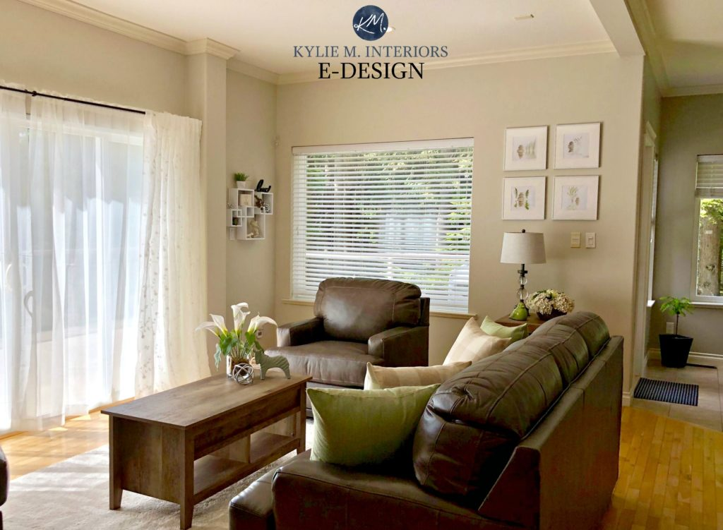 BEnjamin Moore Edgecomb Gray, brown leather furniture, Kylie M Interiors Edesign, online paint colour virtual expert