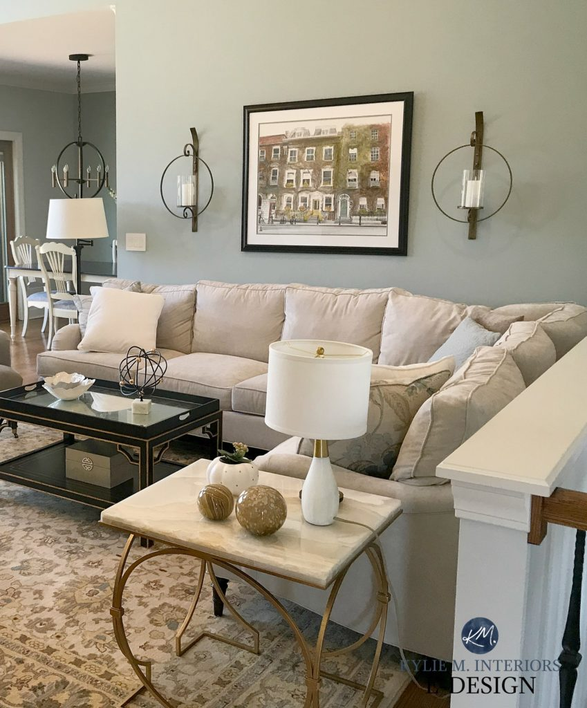 Benjamin Moore Beach Glass open layout living room and dining room. Blue green gray paint colour. Kylie M Interiors Edesign, online color consulting. Client photo