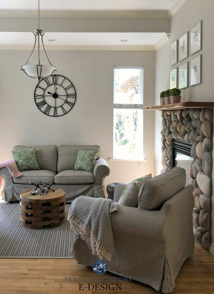 Benjamin Moore edgecomb Gray, beige khaki colour furniture, river rock stone fireplace. Kylie M INteriors edesign, online paint color consulting