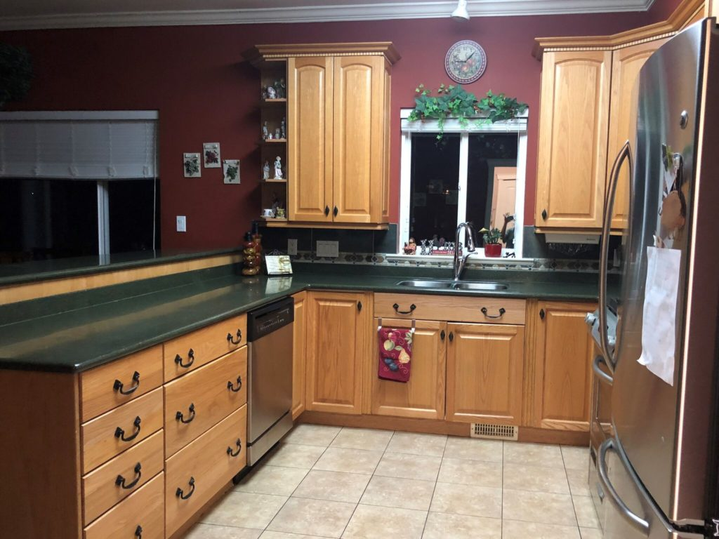 Oak kitchen cathedral style cabinets BEFORE being painted and updated. Kylie M Interiors (4)