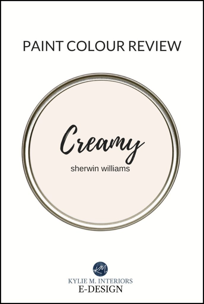 Paint colour review of the best cream paint colour, Sherwin Williams Creamy, a popular off-white. Kylie M Interiors Edesign, online paint colour and diy home expert