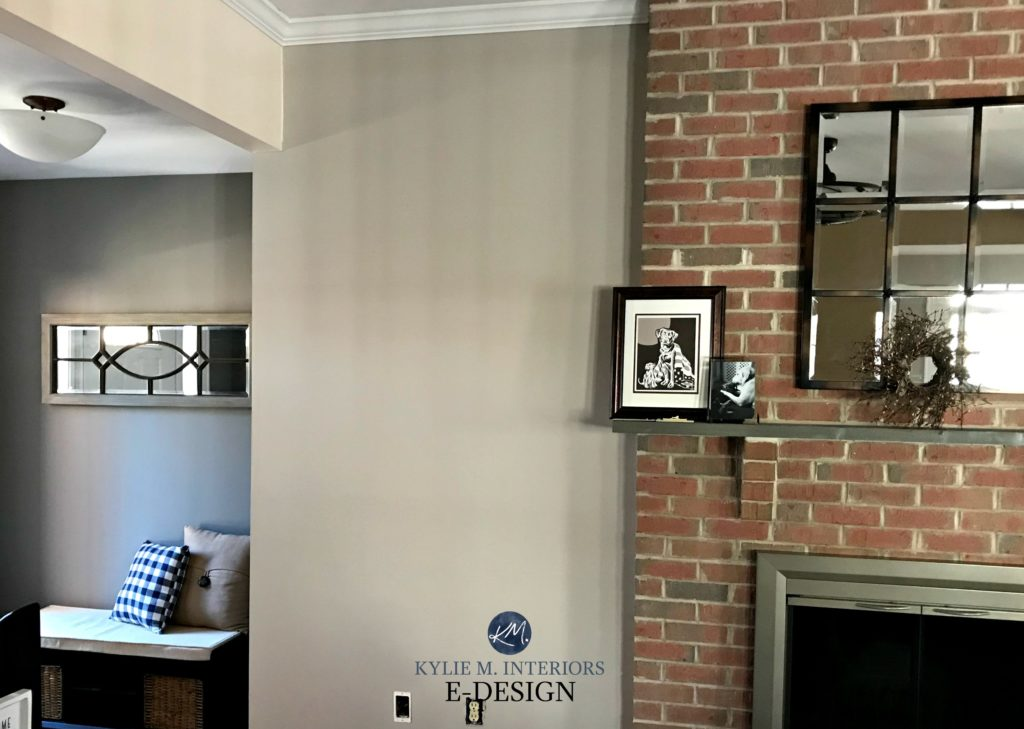 Red brick fireplace, best paint colour Sherwin Williams Anew Gray and Dovetail. Kylie M INteriors E-design, online paint color consultant