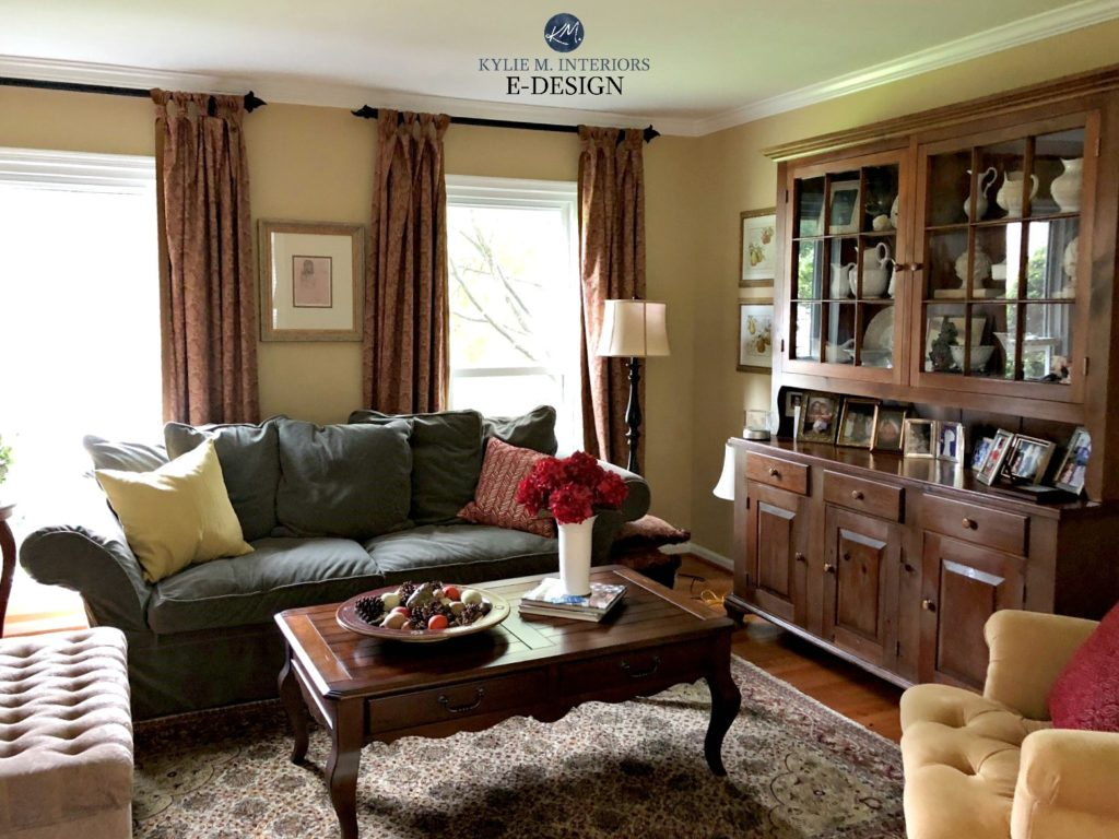 Sherwin Williams Restrained Gold, north facing, traditional style living room. Kylie M Interiors Edesign, online paint color consulting expert. Client photo