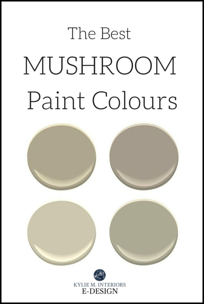 The Best Mushroom Paint Colours, Benjamin Moore and Sherwin Williams Kylie M INteriors E-design, online paint color consulting