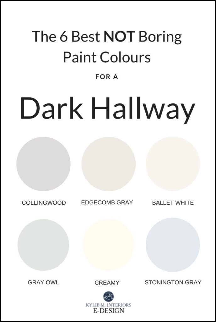 The best pretty paint colours for a dark hallway or staircase. Kylie M INteriors Edesign, Benjamin Moore and Sherwin Williams paint advice