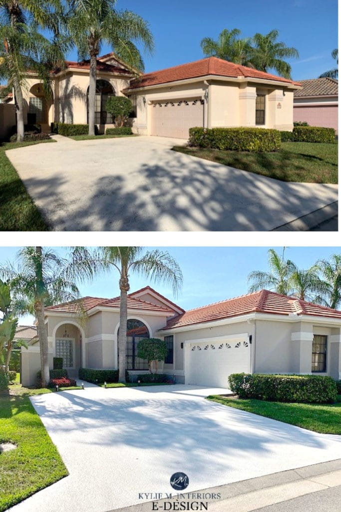 Before And After Florida Style Home Stucco Red Orange Terracotta Tile Roof Kylie M Interiors Edesign Online Paint Colour Consulting Best Paint Colors Blog And Advice