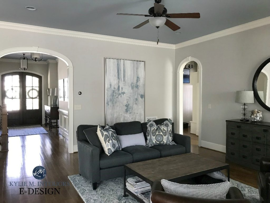 Benjamin Moore Collingwood, best warm gray paint colour, Silver Gray ceiling, Sherwin Dover White trim, contemporary living room. Kylie M INteriors Edesign, online paint color consultant
