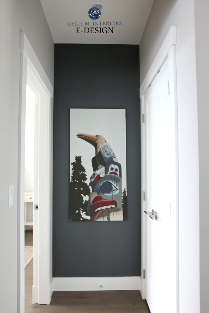 Benjamin Moore Kitty Gray Feature Art Wall With Collonade Gray Ken Kirkby Totem Pole Original
