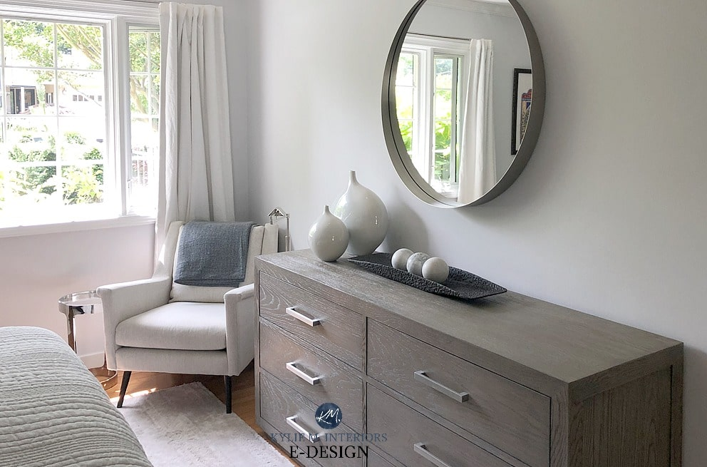Benjamin Moore cool off-white American White in bedroom. Kylie M Interiors Edesign, online paint color consulting, client photo